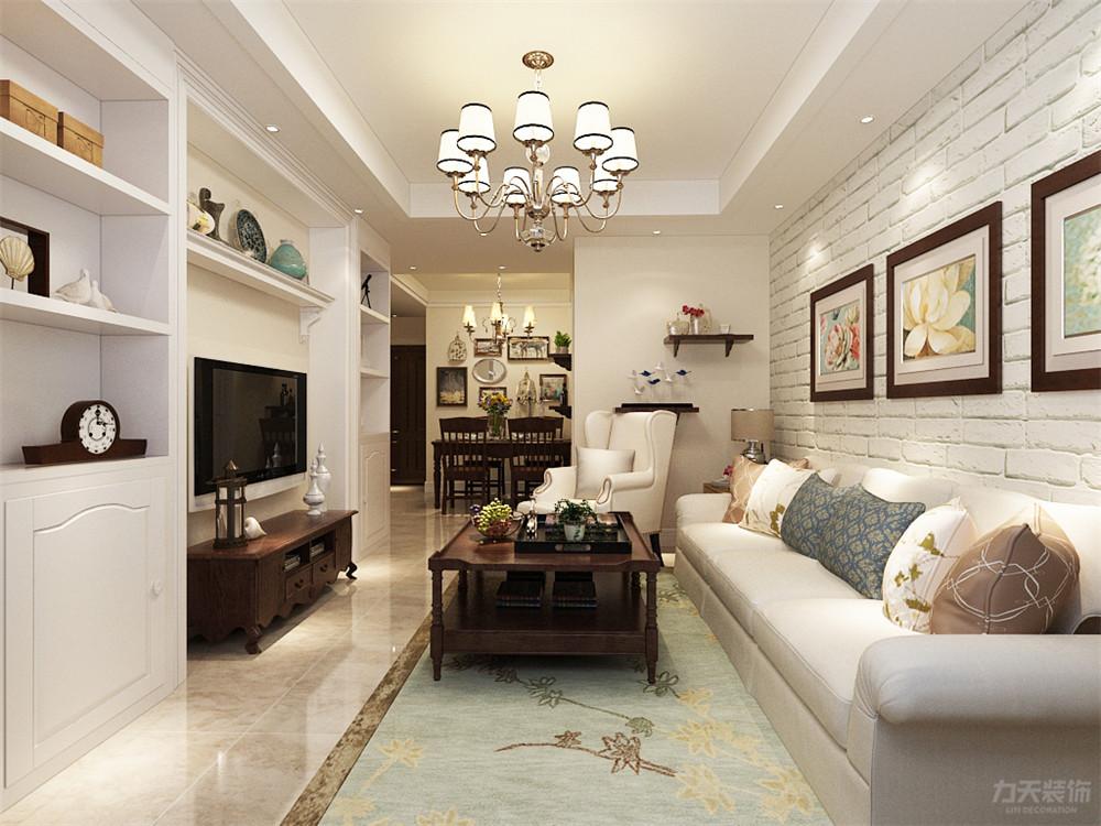 简约 美式 简美 二居 收纳 小资 客厅图片来自阳光力天装饰在力天装饰-雅仕阁-105㎡-简美的分享