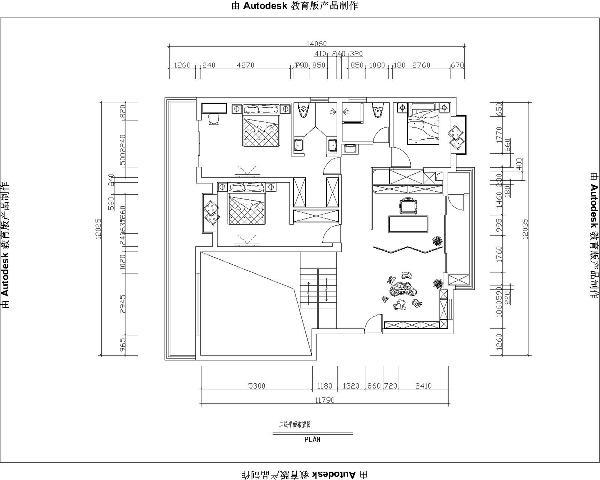 图为二楼的户型平面布置图