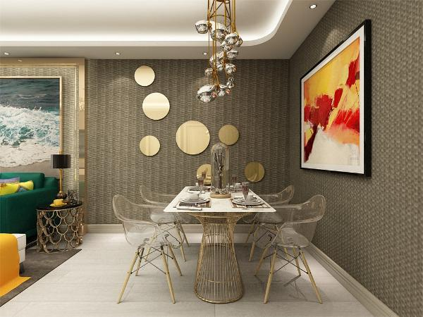 餐厅是家居的心脏,不仅要美观,更重要的是实用性,整体性。餐厅的灯光不能太强又不能太弱,灯光则以温馨的暖黄色为基调,顶部做了简单的吊顶。