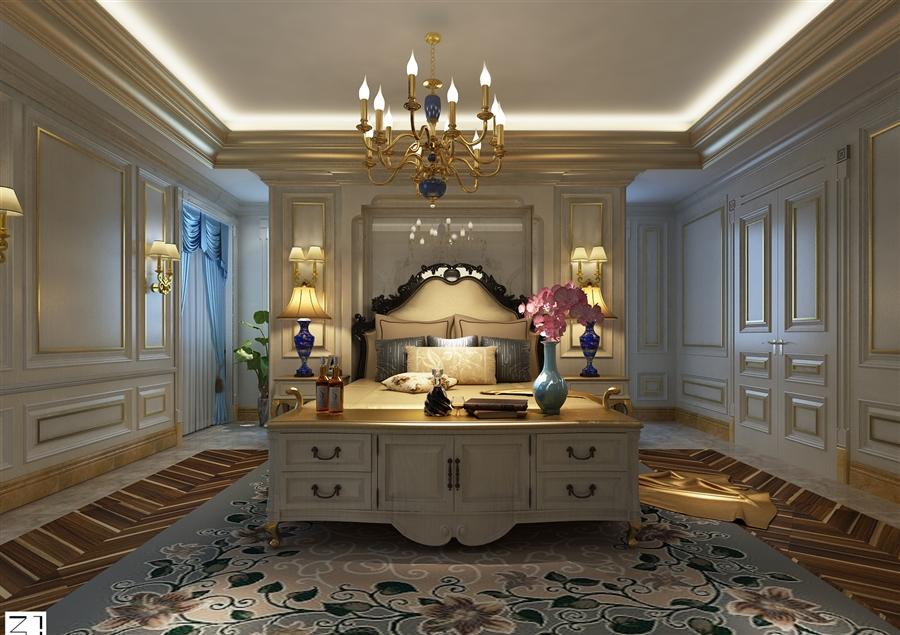 欧式 别墅 小资 会客 卧室图片来自鸿扬家装武汉分公司在长岛别墅-欧陆风情的分享