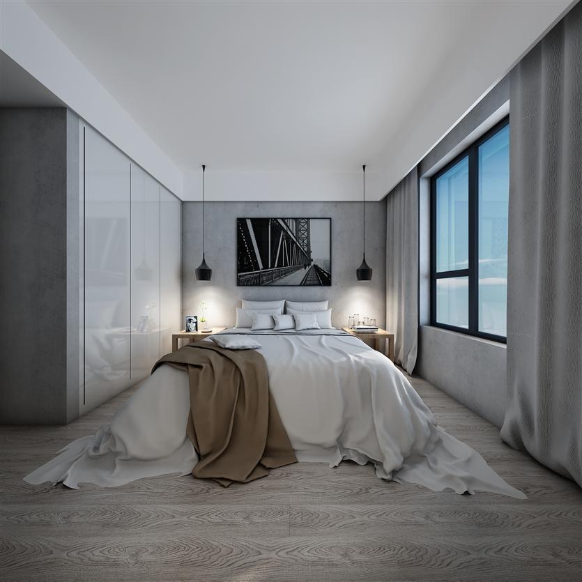 三居 白领 小资 80后 简约 卧室图片来自鸿扬家装武汉分公司在电建地产盛世江城之北欧之光的分享