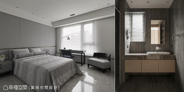 大儿子房采双主卧设计,拥有专属卫浴空间;床头墙使用灰色绷布设计,营造出沉稳舒适的氛围。