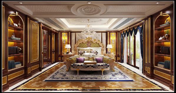 6,主卧以暖色调为主,双色木制护墙的运用能让整个空间在奢华稳重的感觉中不失活泼。