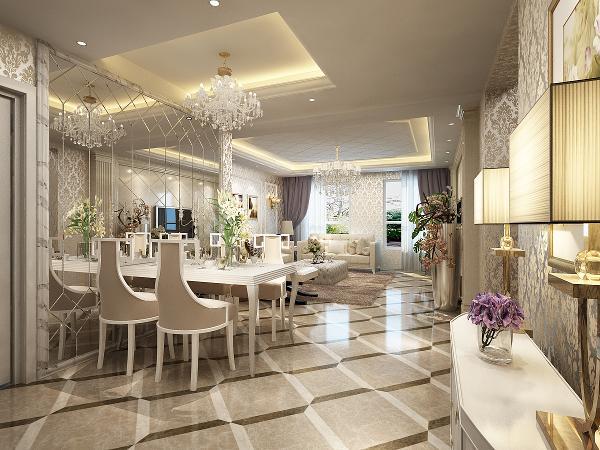 餐厅墙面用水银镜装饰,用餐时出现的油污好打理,又显的空间更大。精致的水晶餐厅凸显奢华。