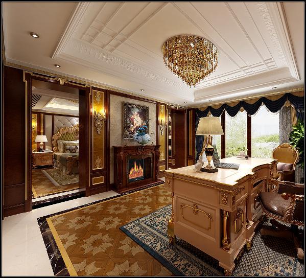 书房是主卧室的配套,延续了主卧的设计手法和材质表现。和主卧的关系是相对独立又不失关联。