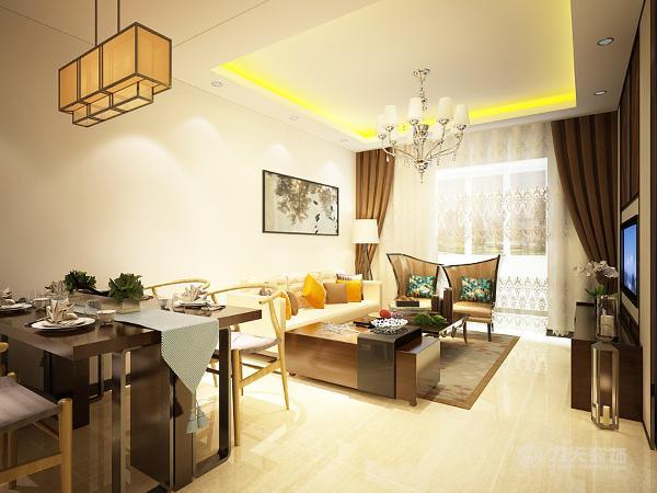 客厅区的沙发选择了现代中又有一点中式元素的沙发,色调也很轻快。沙发墙面上并没有做过于复杂的造型,一幅简单素雅的国画就足以点缀。电视的背景墙的设计简洁大方,给人以舒适之感。