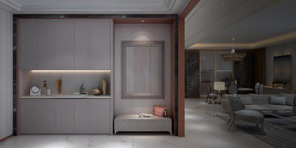 玄关空间在储物收纳、换鞋体验和全身镜等多维度进行整体规划设计,三者组合可实现多功能需求以及适应更多实际空间的尺寸。