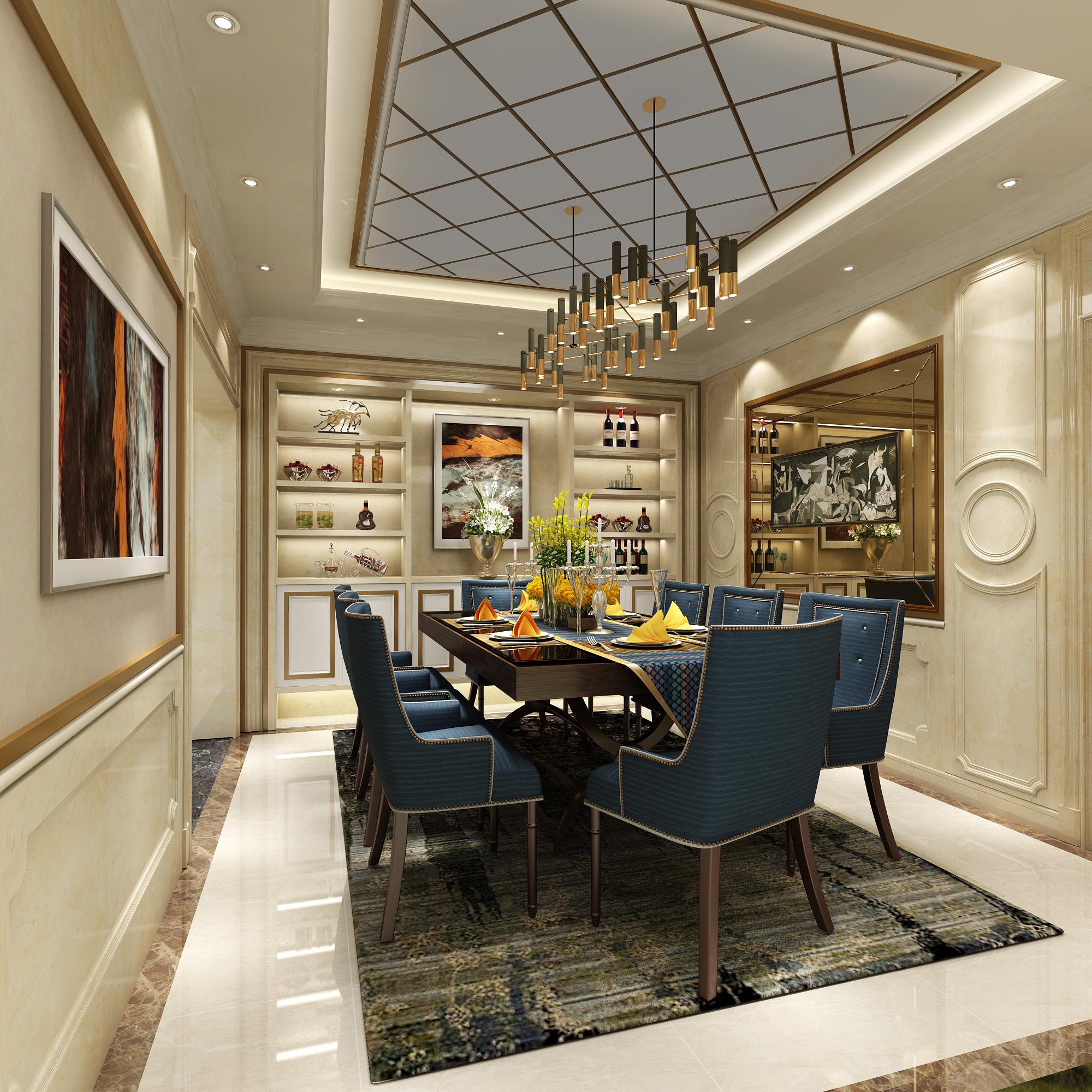 欧式 别墅 小资 餐厅图片来自圣奇凯尚室内设计工作室在繁洛世家·滨河园650平独栋别墅的分享