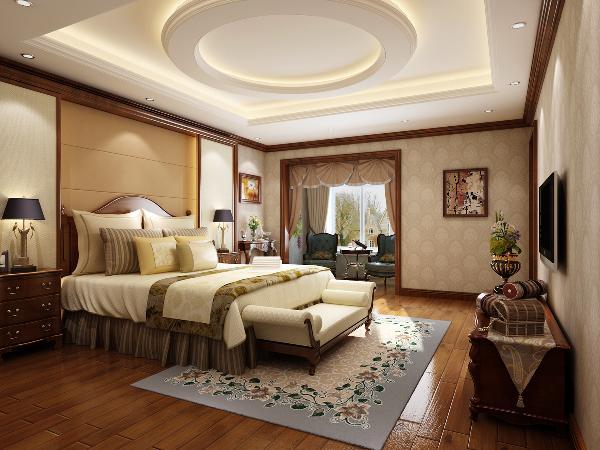 主卧室的设计遵循了风水学,天圆地方的设计,细节上精雕细琢。