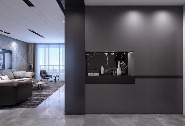 玄关柜体通过黑色大理石和抽屉及黑橡木隔板,将哑光浅灰色烤漆面板的整体鞋柜一分为二,带出空间的层次感,同时全柜体的隐形拉手保持完整性,强调功能的美学表达,感受黑色与灰色的魅力组合。