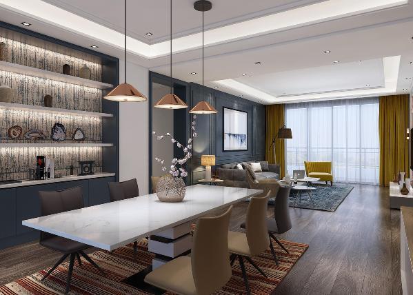 """客餐厅一体化设计,厨房使用通透的玻璃门设计,自然光线在三个空间中流转,视线开阔感在最大程度的得到满足。客厅与餐厅两个悬浮的""""光盒子""""之间加了一个平级吊顶,既满足了视线的延伸又能实现居住功能性的区隔。"""