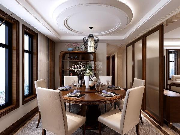 龙湖香醍西岸210平米新中式风格餐厅装修效果图