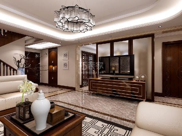 龙湖香醍西岸210平米新中式风格客厅装修效果图