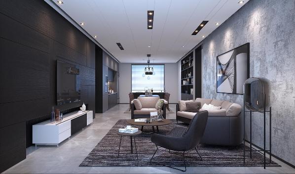电视背景墙 木地板保留木头自然朴质的纹理,沉稳且耐人寻味的深色,与白色烤漆电视机柜和地面阿玛尼灰地砖,型塑出黑白灰色调的简洁空间。下方的电视柜考量与墙面的比例,设计内嵌样式,为空间增加层次感和细节感.