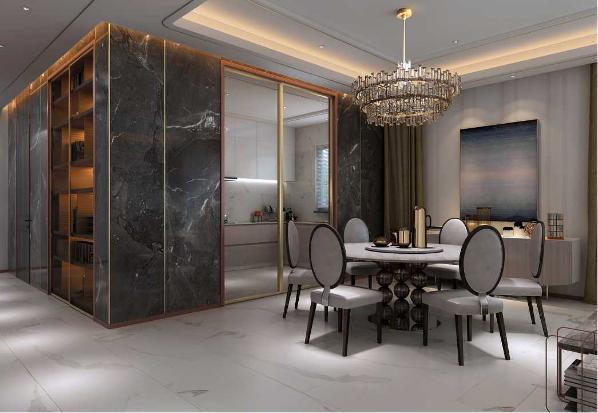 通过2400*800的深色进口大理石砖进行厨房和客餐厅空间区隔,搭配深浅的玫瑰金不锈钢拉丝嵌条,极大的凸显空间的立体视觉效果。