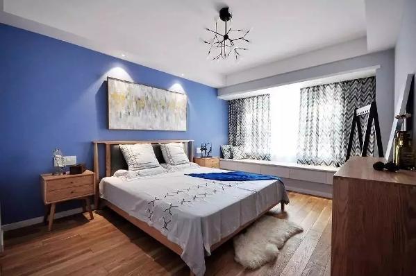 主卧的设计很梦幻哦,木质地板搭配浅紫色背景墙,墙面上用一幅大尺寸的抽象画来缓冲大面积的冷色调,营造一种温馨的气氛。