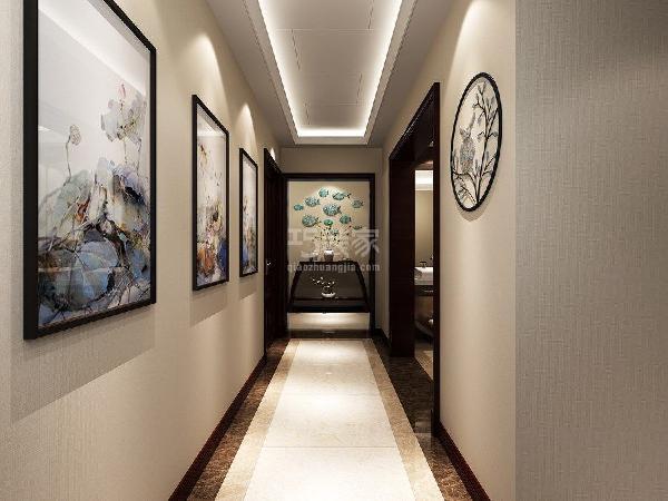 龙湖香醍西岸210平米新中式风格客厅走廊玄关效果图