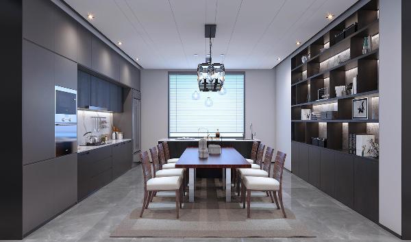 客厅餐厅吊顶做整体的拉缝设计简洁时尚有空间感且让客餐厅空间更加统一通透,侧边黑色烤漆玻璃,作为装饰性亮光元素放大了空间感,丰富了细节,增加了空间体块感。