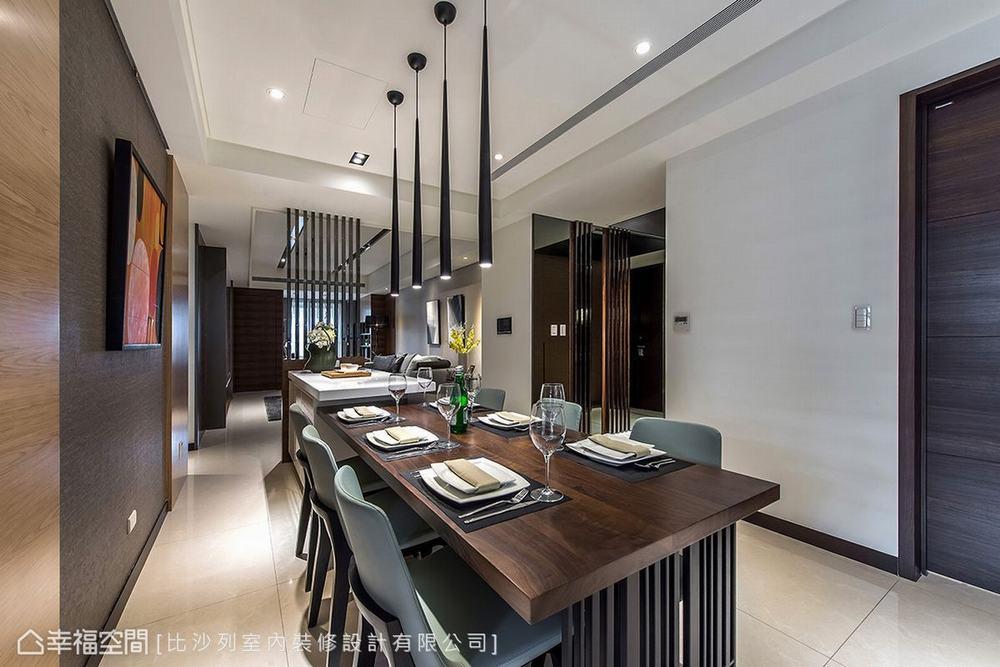 三居 现代 大户型 餐厅图片来自幸福空间在满分规划长型屋 215平现代新面貌的分享