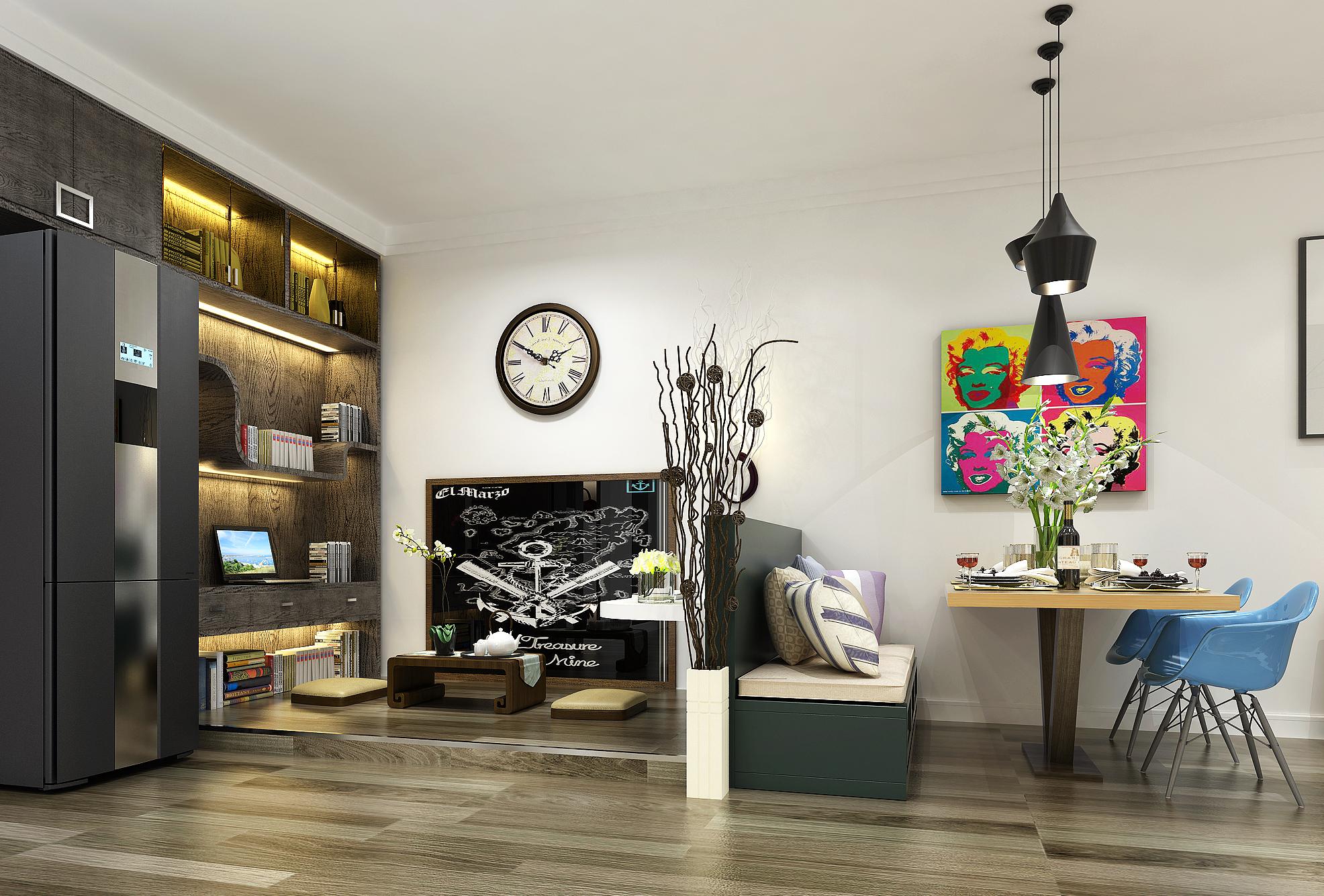 卡座 餐桌 酒柜 客厅图片来自圣奇凯尚室内设计工作室在圣奇凯尚装饰-国风美唐后现代的分享
