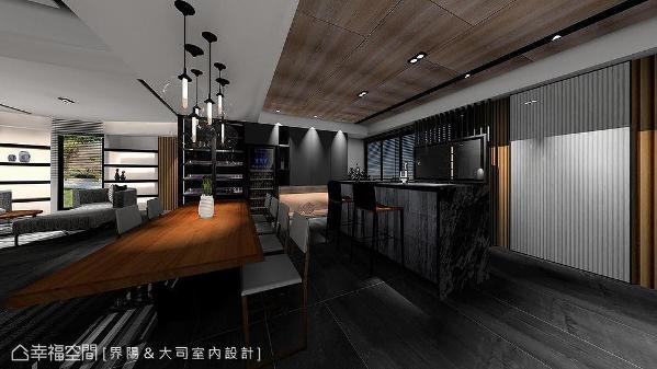 以木纹及白黑两色串织吧台区域,揉入工业感吊灯及微量金属元素,大器沉稳中释放优闲氛围。 (此为3D合成示意图)