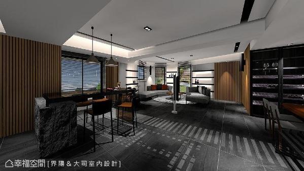 好客屋主为来访聚会的朋友打造卡拉ok区,沿着不方正格局订制专属环状沙发,不只围聚力十足,座位视野亦能与其他区域连成一气。 (此为3D合成示意图)