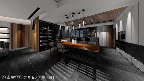 酒柜、吧台及自然边原木桌,在光源高低渐次的情境下,烘托出属于小酌场域的慵懒。 (此为3D合成示意图)