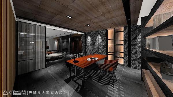 半透光拉门,让书房与外部产生若隐若现的连结。而钢刷木皮天花板,则为书房注入沉稳与温暖的人文调性。 (此为3D合成示意图)