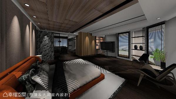 延伸公领域的石皮和钢刷木纹,因应房间属性以轻柔的色彩与光线调和,营造个性及舒适兼具的睡眠空间。 (此为3D合成示意图)
