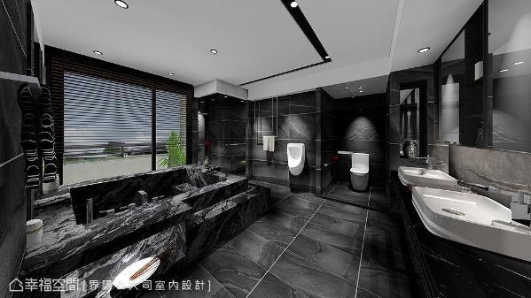 黑白色系映照出星级饭店的卫浴质感,并以内嵌式收纳及装饰性极强的毛巾架单品,打造强烈的视觉印象。 (此为3D合成示意图)