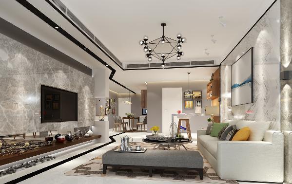 以简约时尚线条与各个空间相互连接呼应,通过顶面灯光把门厅餐厅过道交通空连接与客厅形成空间层次分明对比。