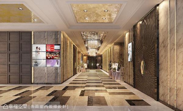 宽敞大器的廊道彷佛为婚礼揭开序幕,两侧可安排接待、收礼区域,动线相当明了流畅。 (此为3D合成示意图)