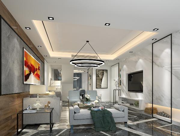 云多拉灰为主的大理石地面配以爵士白做造型线条,为空间营造无尽的延伸感,现代的灯具,简约的爵士白大理石背景墙,灰色布艺沙发,处处透露着后现代风格的气息。