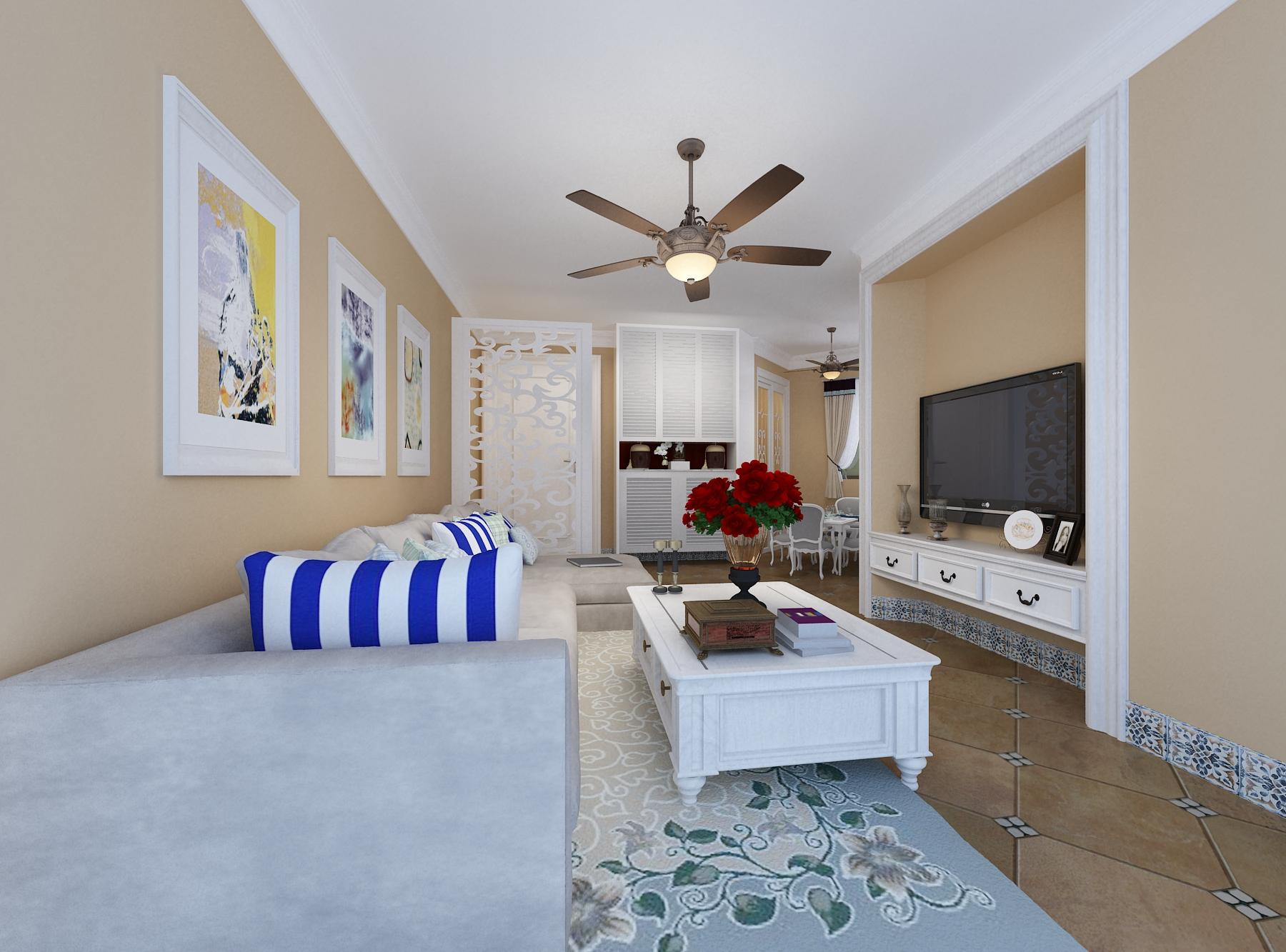 白领 80后 小资 地中海 客厅图片来自东大家居设计在地中海三室一厅的分享