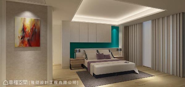 床头墙使用Tiffany蓝增添优雅质感,吊柜门片以木皮染色导管白,入口端景则展现仿羊皮温润质地,让卧眠区也有一丝人文风情。 (此为3D合成示意图)