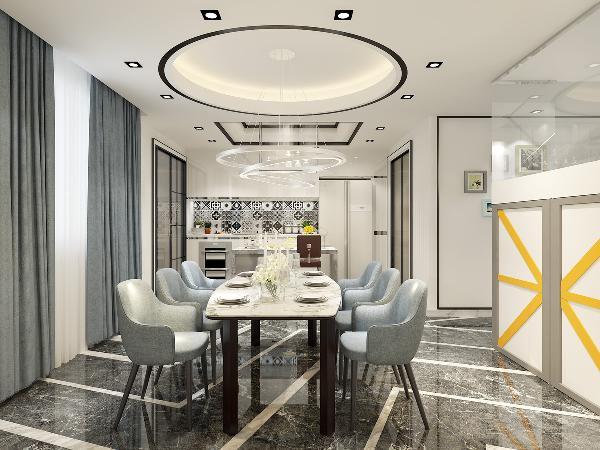 圆型的吊顶设计,简约的具有弧形的餐桌椅,用极少的东西来展现最完美的理念。