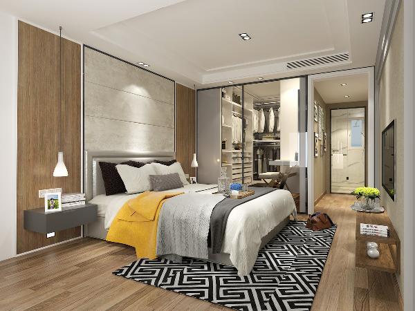 床头背景墙和地面色彩达成呼应,黑色方形筒灯来代替复杂的吊灯,用点光源来增添空间的氛围。