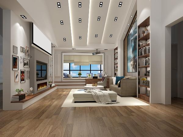 二层起居室吊顶在保留原有斜面屋顶的前提下增添层次感,配以灯光的设计为空间营造不同的需求。