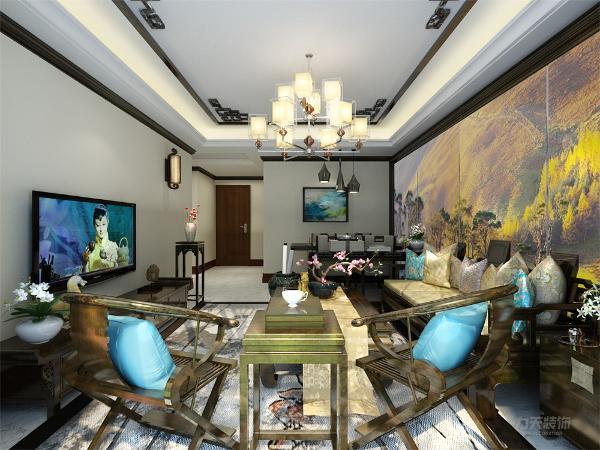 客餐厅一体式,空间相对狭小,所以沙发的左侧并没有放置椅子,而是摆放了一个柜台,来分割餐厅和客厅来体现出空间的层次感。整个客餐厅的家具都是用一些深色实木构成,再加上一些鲜艳的布艺和花束
