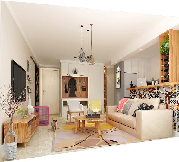 半开放式厨房的设计为空间增添通透感,而吧台的实用性也特别强,花砖的使用也为空间增添活跃感。