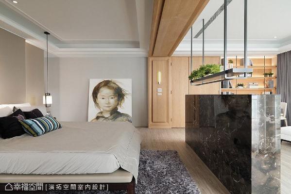 在现代基底中适度融入木作线板语汇,用以区隔空间领域,同时营造些许典雅气质。