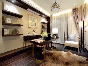 中式 现代中式 三居 大户型 复式 80后 小资 书房图片来自高度国际姚吉智在140平米现代中式淡雅如兰悠悠心的分享
