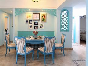 地中海 三居 大户型 公寓 复式 小资 白领 餐厅图片来自高度国际姚吉智在137平米地中海碧海蓝天清凉舒爽的分享