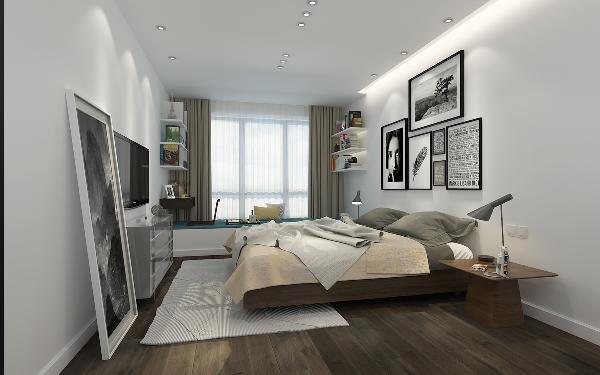 温馨的居室依旧沿用大方的色彩,储物隔板的设计使空间无论从美观性还是装饰性都得到提高。