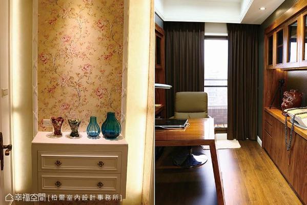 浪漫的端景墙左侧藏有一道暗门,推开门片即可通往主卧书房,创造出隐密且静谧的氛围。