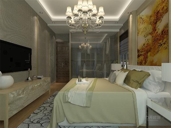 主卧室背景墙采用蓝、黄、米等色彩元素搭配的床整体体现温馨的感觉,柔和的色调,不会显得混乱