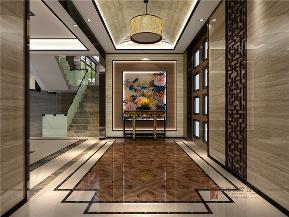 中式 别墅 大户型 复式 跃层 高帅富 小资 80后 玄关图片来自高度国际姚吉智在500平米新中式别墅东方静怡之美的分享