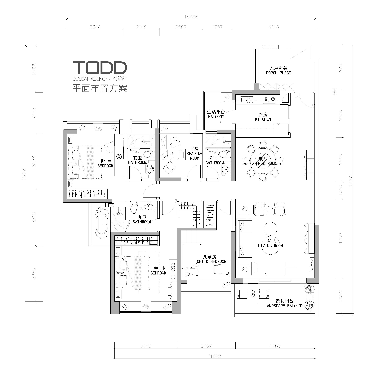 现代轻奢 白领 别墅 四居 混搭 户型图图片来自杜特设计-杨文旭在《轻奢物语》-杜特设计的分享