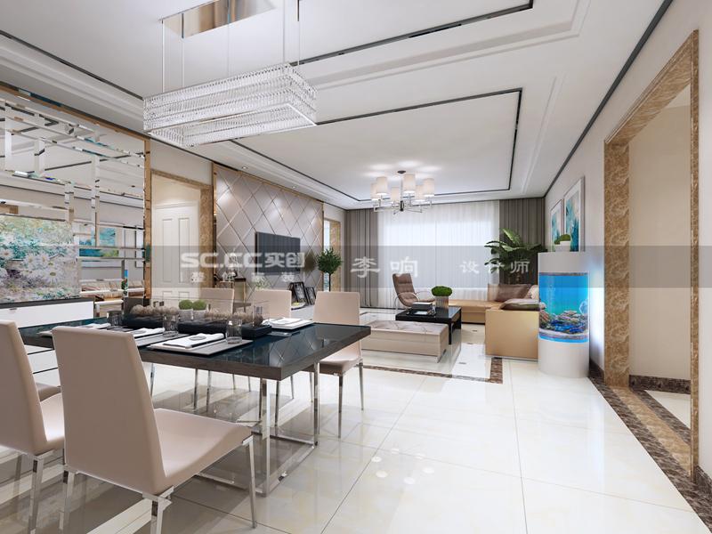 现代 奢华 实创 晓港名城 餐厅图片来自快乐彩在晓港名城五期223平现代奢华装修的分享