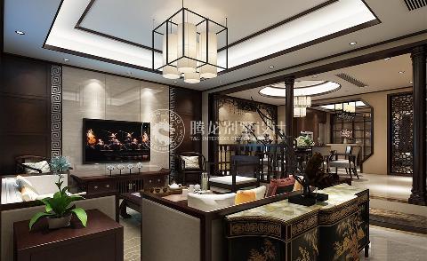 丝庐雅苑250平别墅装修新中式